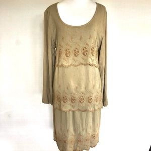 Johnny Was Tiered Embroidered Dress